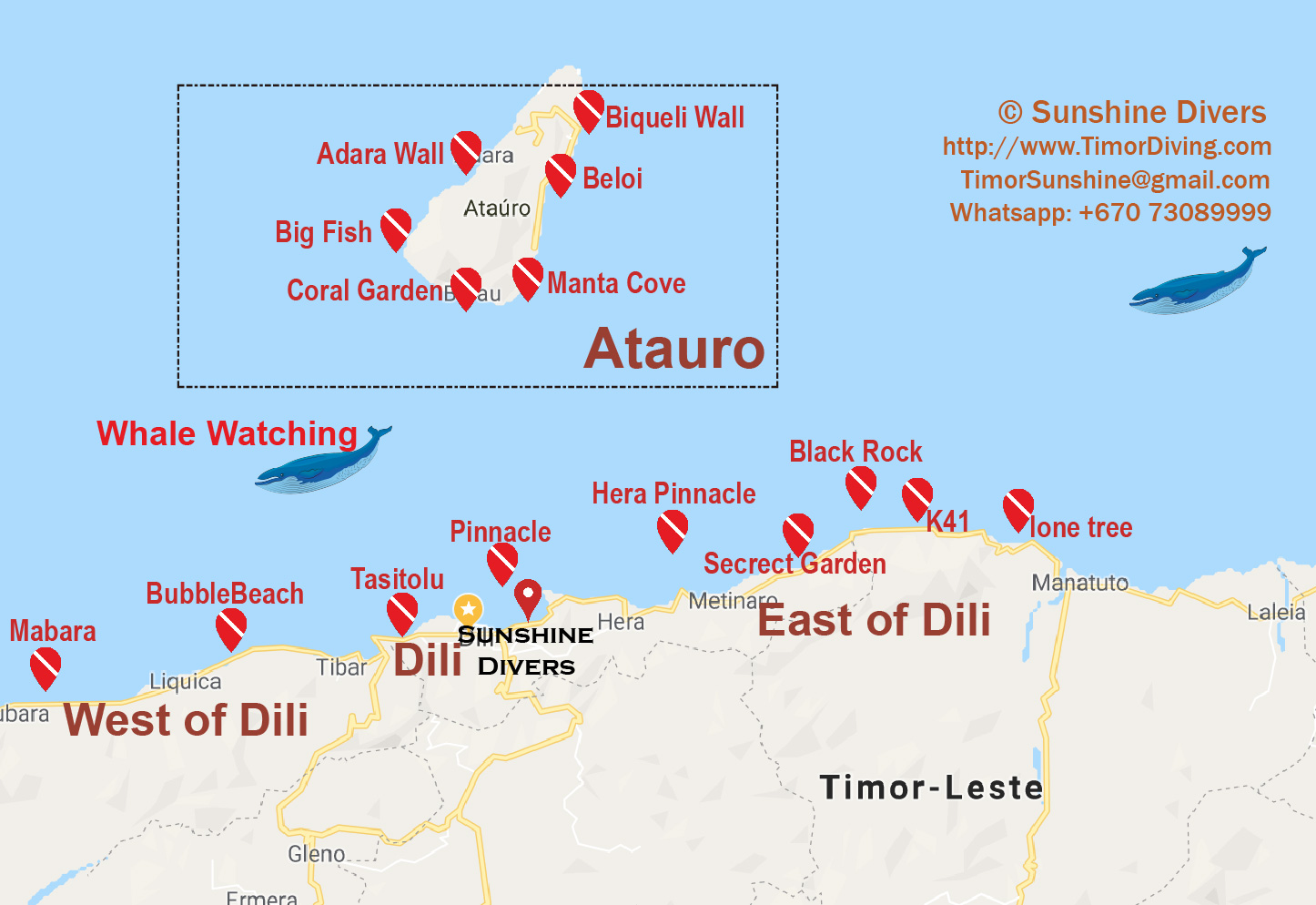 East Timor / Timor-Leste dive site map